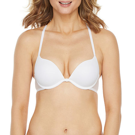 Ambrielle Plunge Push Up Bra, C , White