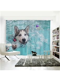 Vivid and Cute Dog playing Pattern 3D Printed Polyester Curtain