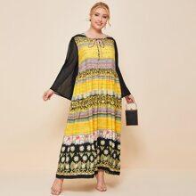 Maxi Kleid mit Blumen Muster, Halsband und Kontrast an Ärmeln