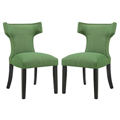 Curve Collection EEI-2741-GRN-SET Set of 2 Dining Side Chairs with Nailhead Trim  Dense Foam Padding  Black Rubberwood Tapered Legs  Solid Wood Frame