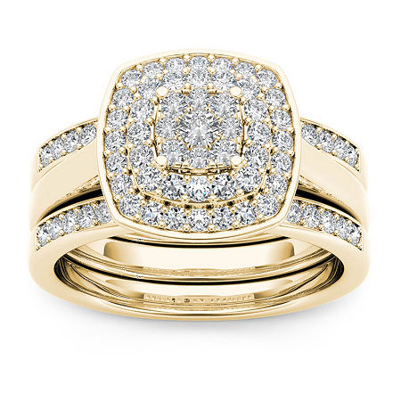 Womens 1/3 CT. T.W. Genuine White Diamond 10K Gold Bridal Set, 6 1/2 , No Color Family