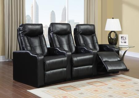 Camden Collection 3 Seat Recliner Theater Set with Sinuous Seat Spring  Grade Deluxe Foam Cushions  Wood Frame and Bonded Leather Upholstery in Black