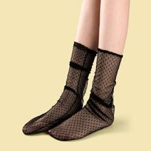 Socken mit transparentem Netzstoff