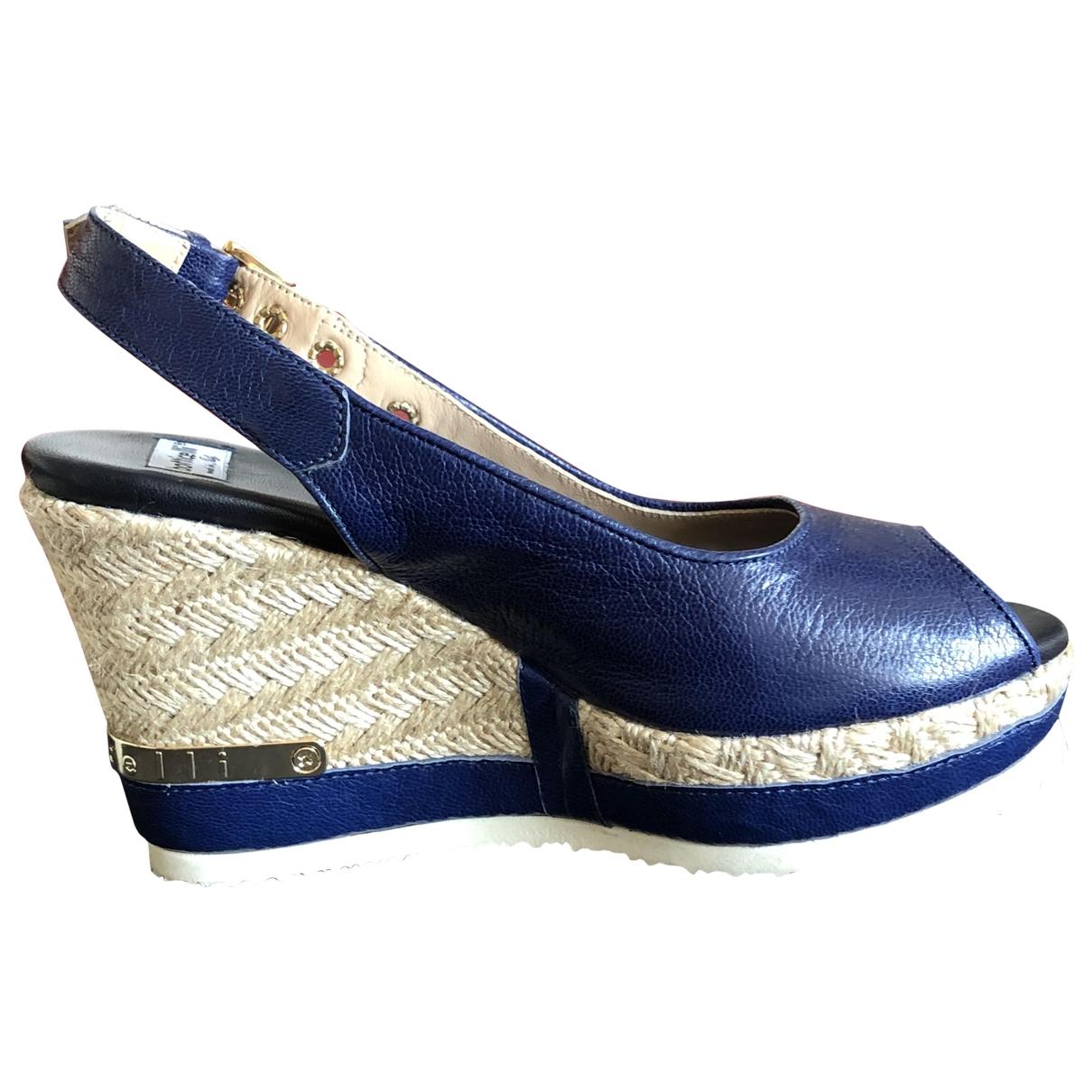 Borrelli - Sabots   pour femme en cuir - bleu