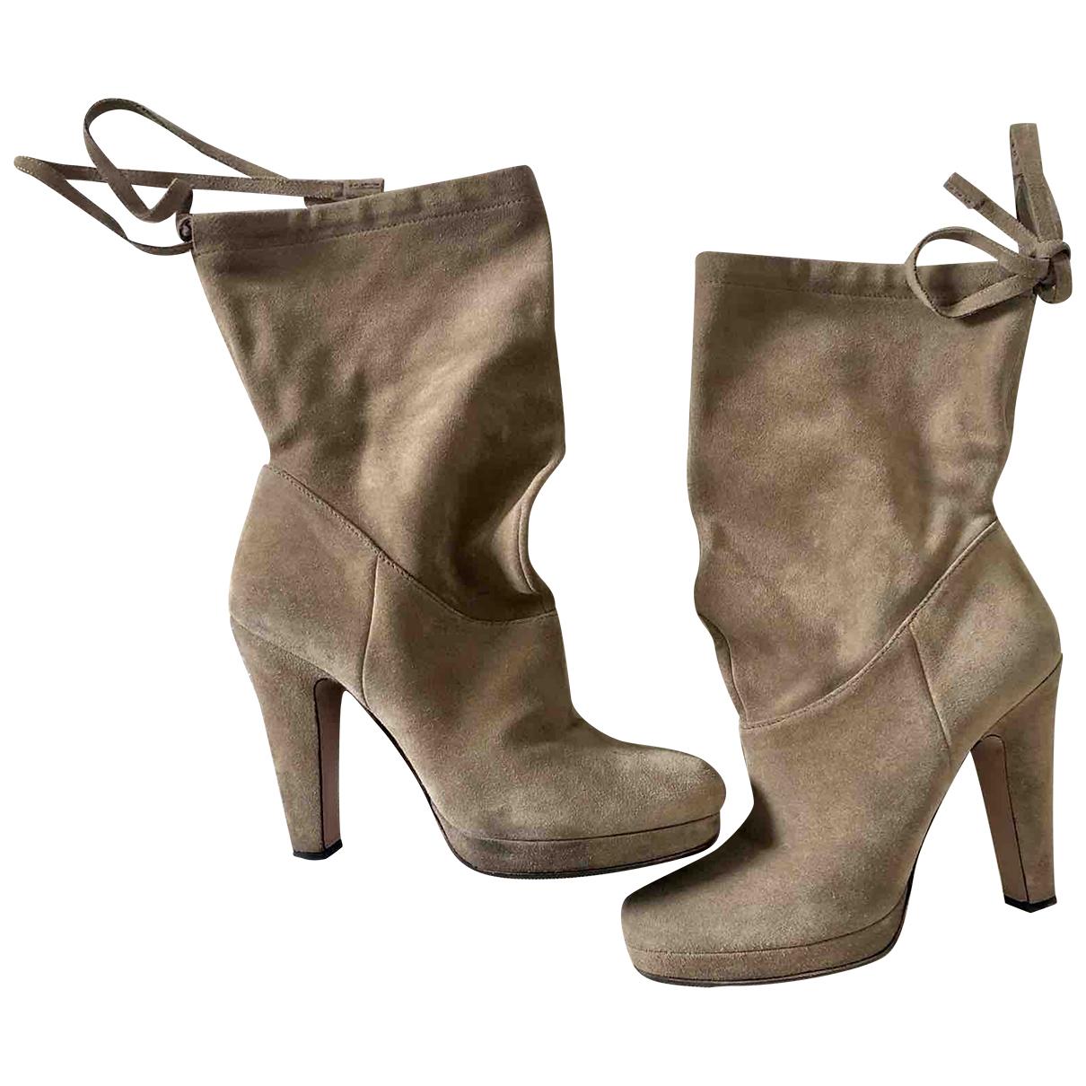 Prada - Boots   pour femme en cuir - beige