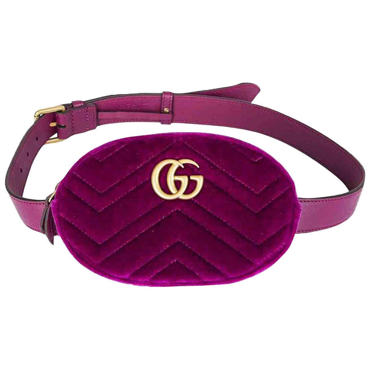 Gucci - Pochette Marmont pour femme en velours - violet