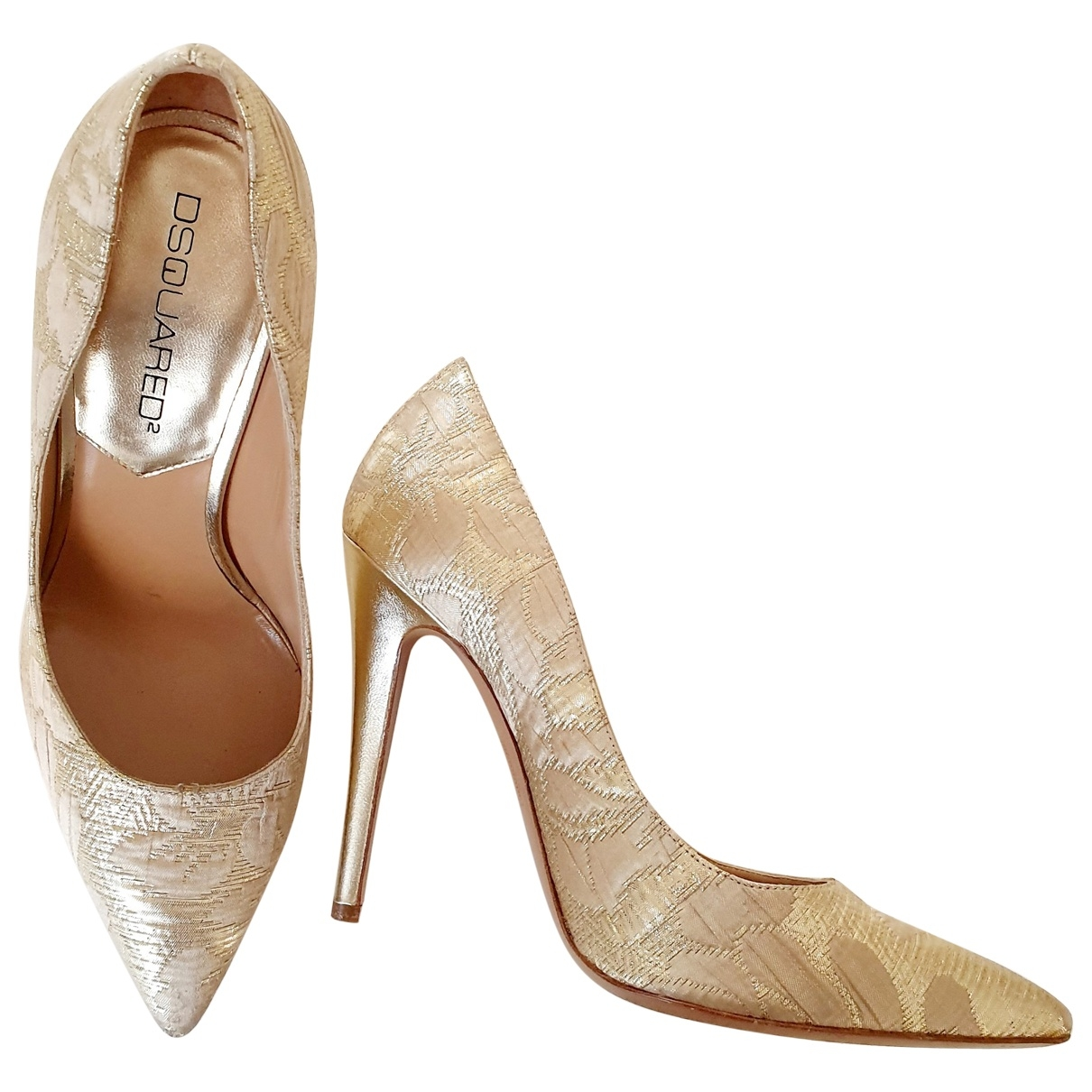 Dsquared2 \N Gold Leather Heels for Women 37.5 EU