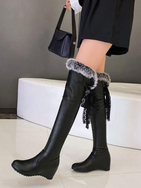 Milanoo Lolita Boots Faux Fur Lace Tape Lolita Shoes