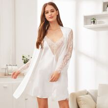 Contrast Lace Satin Robe With Cami Night Dress