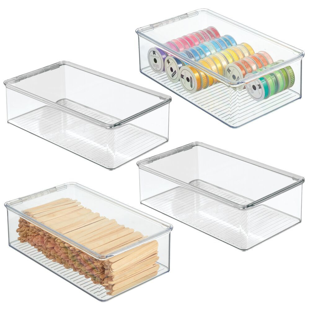 Plastic Craft Storage Box with Hinged Lid - Pack of, by mDesign
