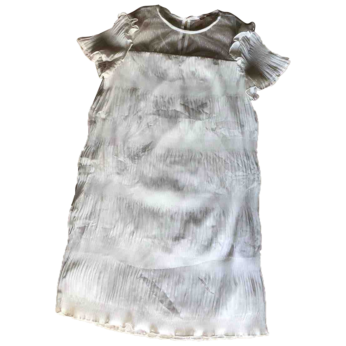 Non Signe / Unsigned Manche ballon Kleid in  Weiss Polyester
