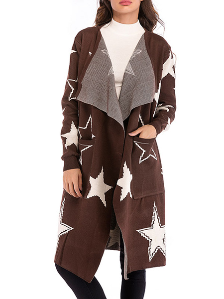 Milanoo Prendas de abrigo para mujer Cuello vuelto geometrico Estampado de estrellas Plisado Casual en capas Cafe Gabardina marron