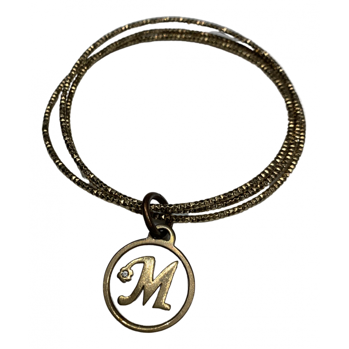 Non Signe / Unsigned Motifs Lettres Armband in  Gold Metall