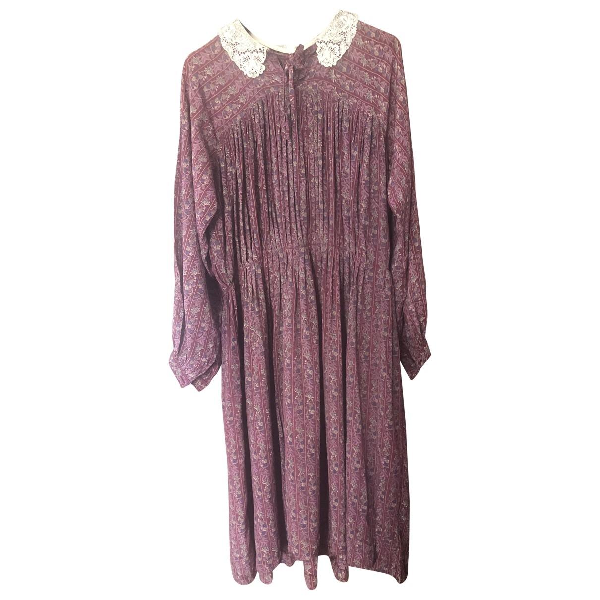 Non Signe / Unsigned \N Kleid in  Bordeauxrot Seide