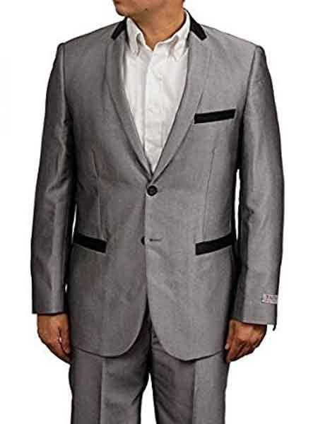 Mens Silver Grey/Gray Sharkskin Shiny With Black Trim Tuxedo
