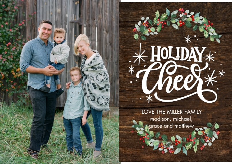 Holiday Photo Cards 5x7 Cards, Premium Cardstock 120lb with Rounded Corners, Card & Stationery -Holiday Cheer Garland by Tumbalina