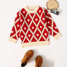 Toddler Girls Argyle And Heart Pattern Sweater