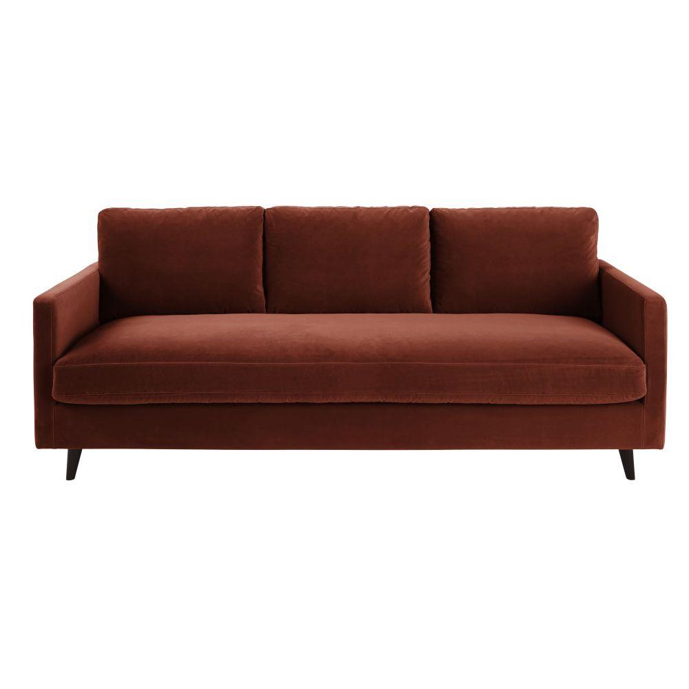 4-Sitzer-Schlafsofa mit terrakottafarbenem Samtbezug und Matratze 10 cm Kant