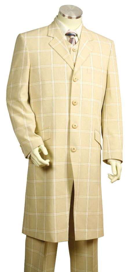 4 Button Fashion Cream Zoot Suit Mens