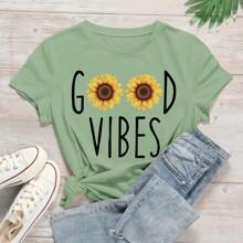 T-Shirt mit Buchstaben & Sonnenblumen Muster