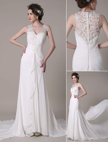 Milanoo Marfil vestido de novia con cuello en V y lentejuela