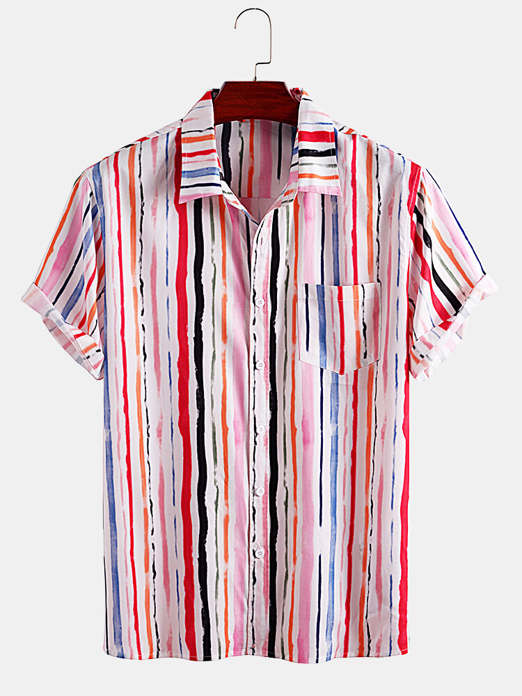 Mens Colorful Striped Print Casual Loose Light Short Sleeve Shirts
