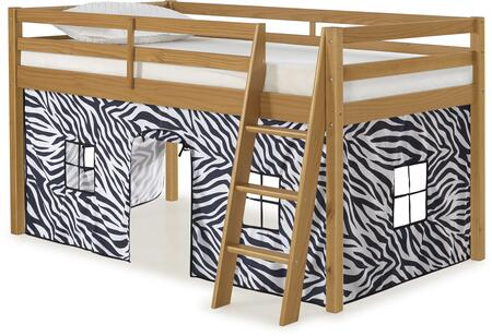 Roxy Collection AJRX10CIATZEB Twin Size Junior Loft Bed with Slatted Guardrails  Ladder Included  Cinnamon Pine Wood Construction and Polyester