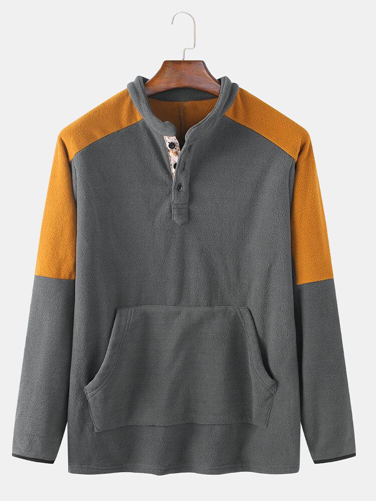 Mens Contrast Patchwork Button Up Fleece Casual Pouch Pocket Sweatshirts