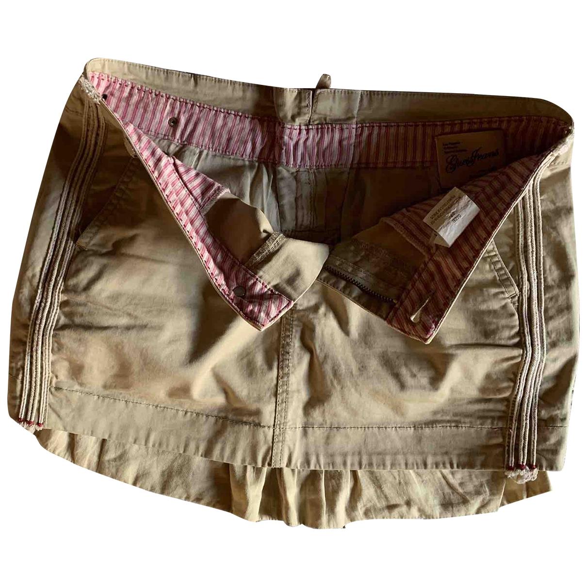 Guess - Jupe   pour femme en coton - elasthane - beige