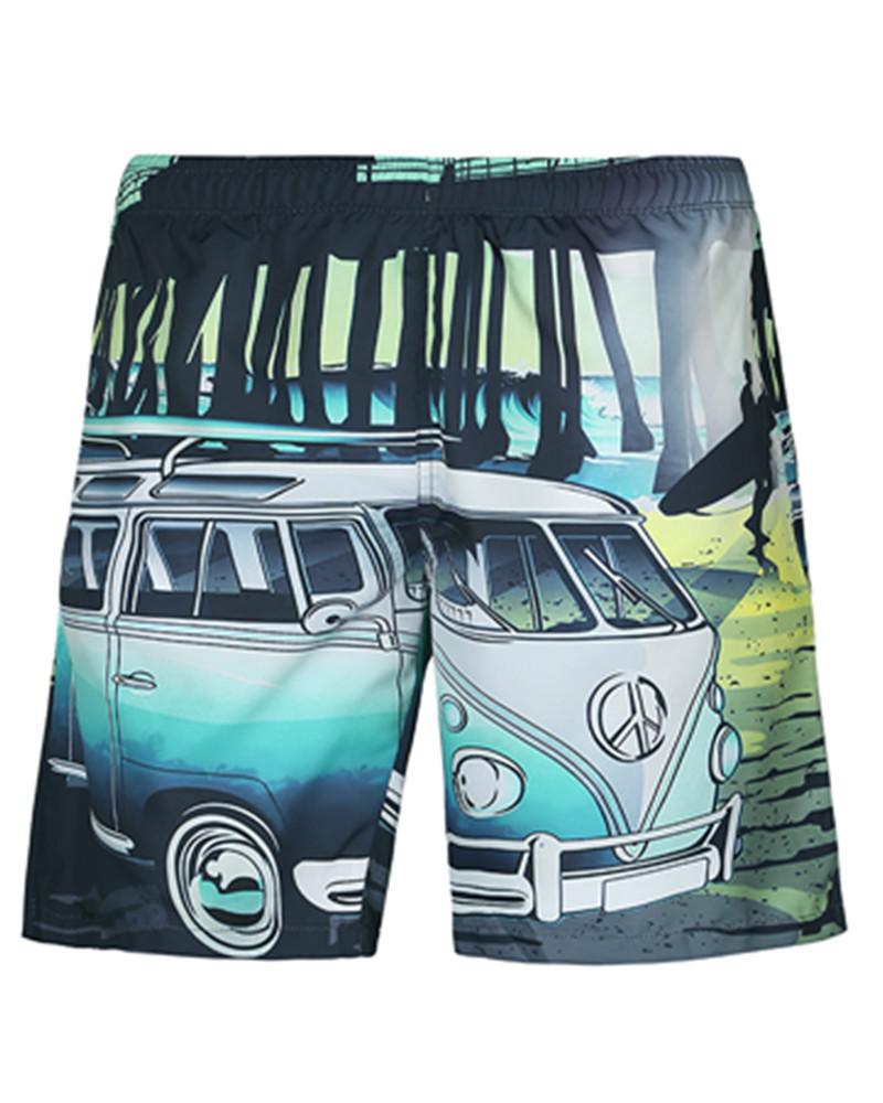 Fashion Cartoon Bus Pattern 3D Beach Shorts