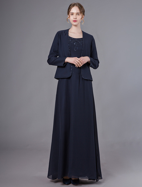 Milanoo Mother Of The Bride Dresses Dark Navy Beaded Dresses Jacket Chiffon Wedding Party Dress
