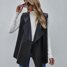 PU Leder Mantel mit Wasserfall Design und offener Vorderseite