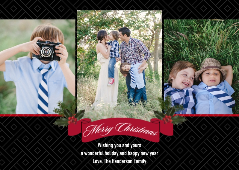Christmas Photo Cards 5x7 Cards, Standard Cardstock 85lb, Card & Stationery -Christmas Classic Black