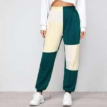 Pantalones deportivos de color combinado de cintura elastica