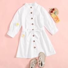 Girls Button Front Patch Pocket Belted Dress