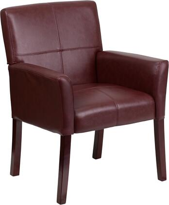 BT-353-BURG-GG Executive Side Reception Chair with Mahogany Wooden Legs  Padded Curved Arms  Floor Protector Plastic Glides and LeatherSoft