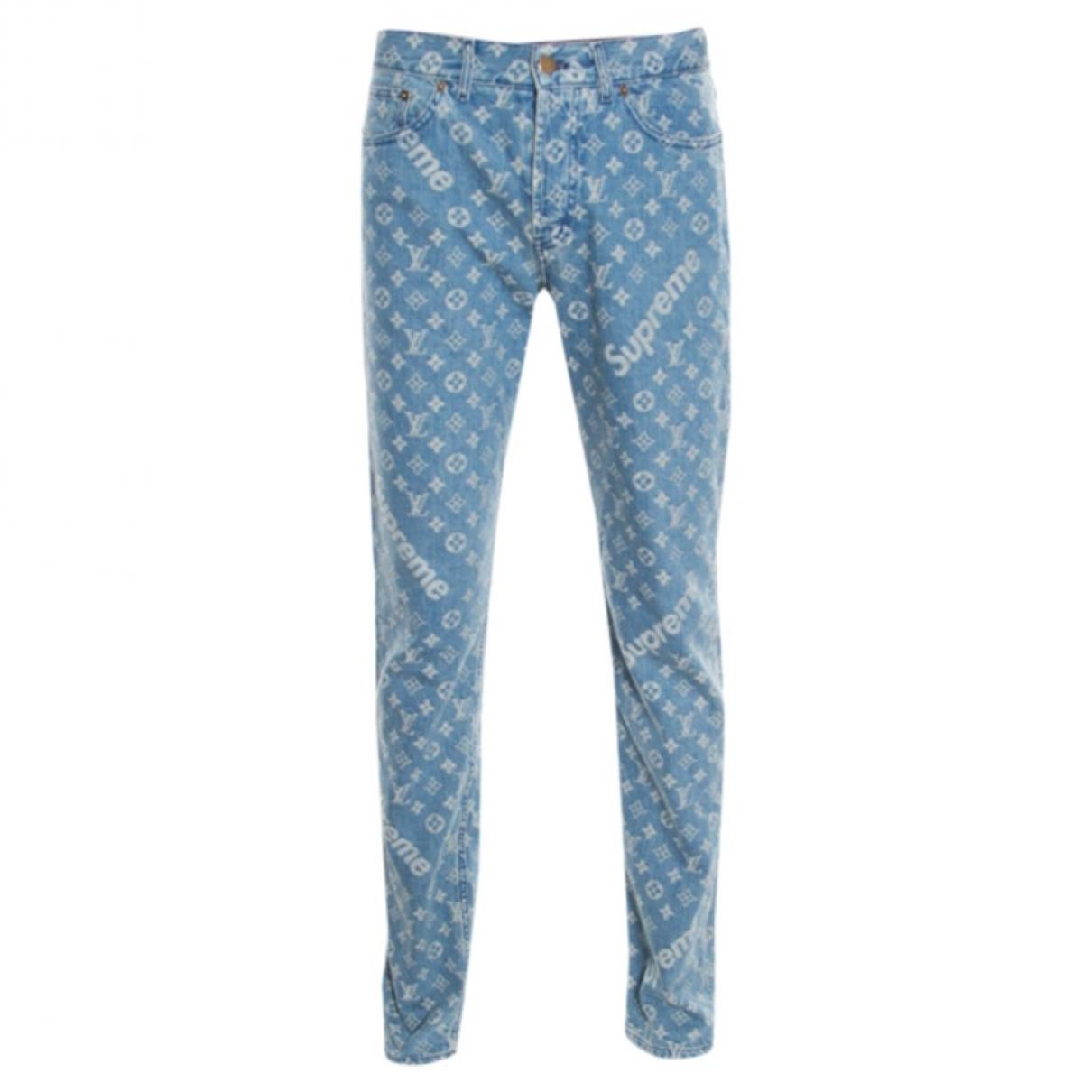 Louis Vuitton X Supreme \N Blue Cotton Jeans for Men 31 US