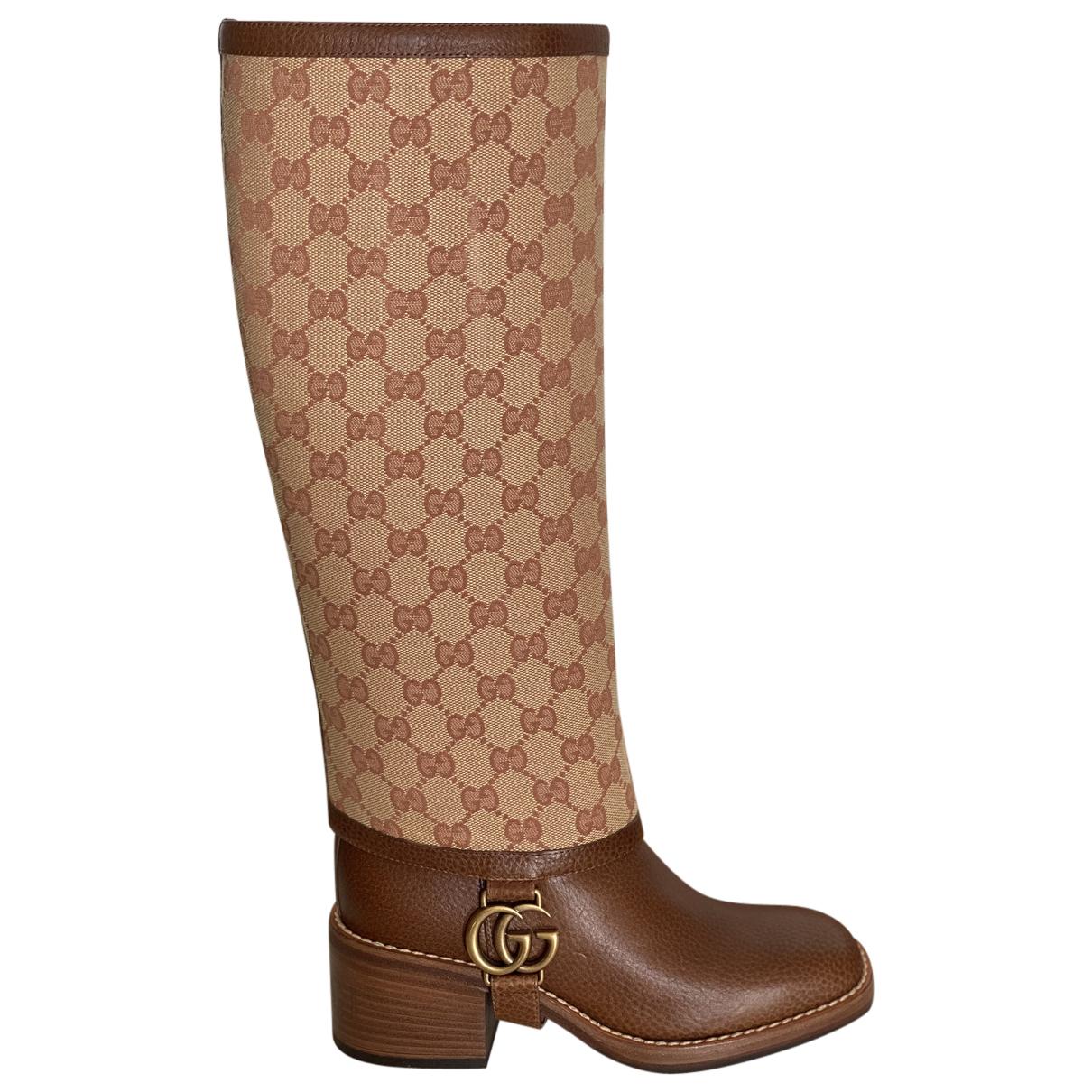 Gucci - Bottes   pour femme en cuir - marron