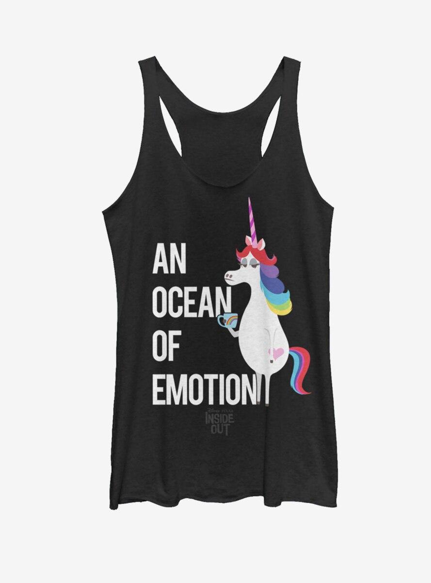 Disney Pixar Inside Out Rainbow Unicorn Ocean of Emotion Womens Tank