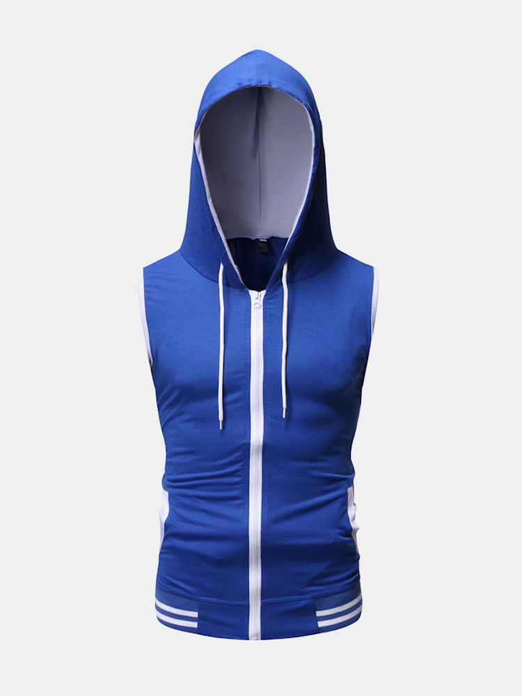 Mens Color Block Sports Hooded Slim Fit Sleeveless Vests