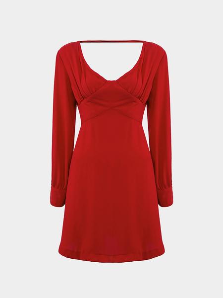 Yoins Red Plunge V-Neck Backless A-Line Dress