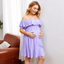 Maternity Kleid mit Falten, Raffungsaum und Karo Muster