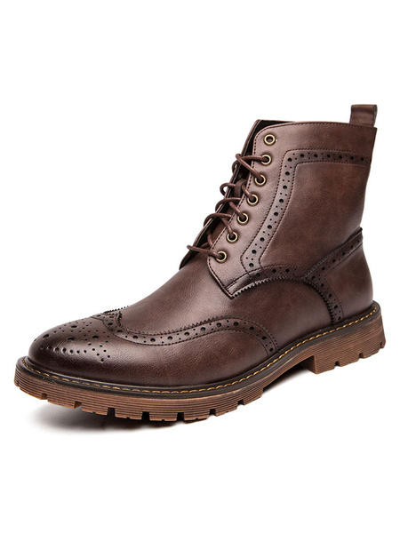 Milanoo Martin Mens Boots Fabulous Distressed Leather Lace Up Mordern Shoes For Winter