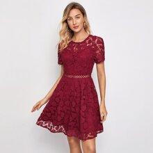 Guipure Lace Split Back Dress
