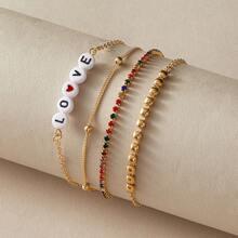 4pcs Letter & Rhinestone Design Bracelet