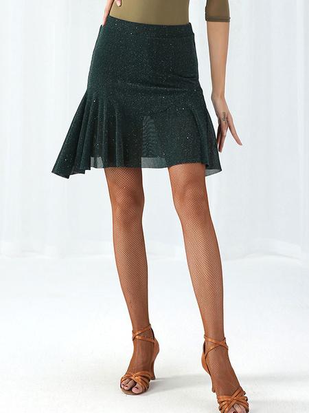 Milanoo Latin Dance Costumes Dresses Starlet Gilding Ruffle Women Tulle Skirt Dancer Dancing Wear Halloween