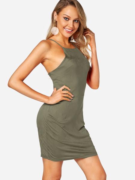 Yoins Green Backless Design Crew Neck Sleeveless High-waisted Dresses