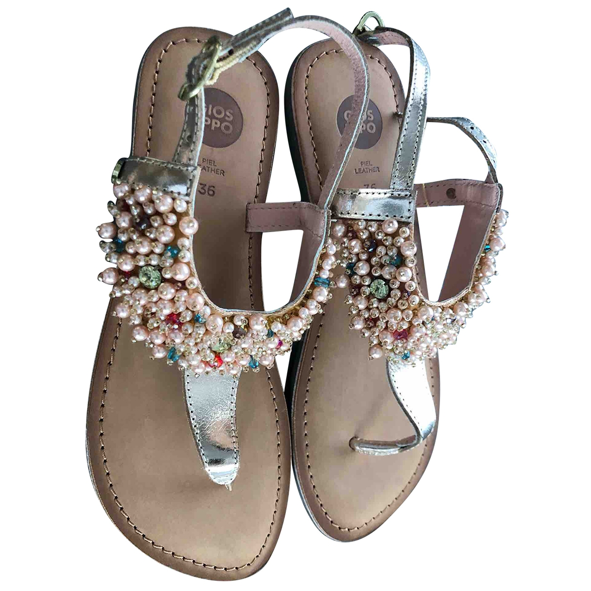Gioseppo \N Gold Leather Sandals for Women 36 EU