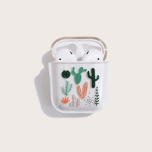 1pc Cactus Print Clear AirPods Case