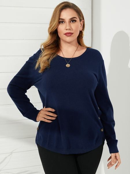 YOINS Plus Size Button Design Long Sleeves Sweater